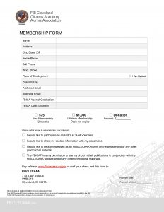 fbi cleveland citizens academy alumni association membership form